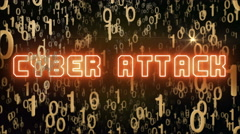 Golden Cyber Attack concept with digital code Stock Footage