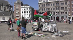 Political activists protest against israeli occupation in the Middle East, flags Stock Footage