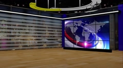 News TV Studio Set 199- Virtual Green Screen Background Loop Stock Footage