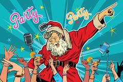 Christmas party Santa Claus singer Stock Illustration