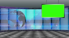 News TV Studio Set 196- Virtual Green Screen Background Loop - stock footage
