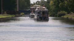 Houseboats on the Trent severn river in Peterborough Stock Footage