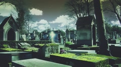 Divine Light Over Cross In Cemetery Scene At Night Stock Footage