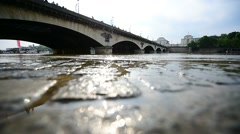 Seine level dropping to normal after 30-year high during floods in Paris - stock footage