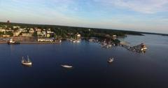 Aerial rising view on the city of Tammisaari, in Raasepori, Uusimaa, Finland Stock Footage