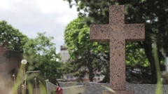 Holy Cross Monument In A Graveyard Stock Footage