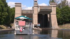 Peterborough lift lock in Canada Stock Footage