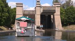 Peterborough lift lock in Canada Stock Footage