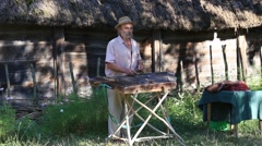 Old man musician playing the national stringed musical instrument gusli ,Ukraine - stock footage