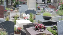Cemetery Graves In Springtime Stock Footage