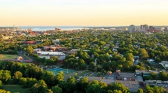Time-lapse of New Haven, CT from atop East Rock Park with a view of downtown Stock Footage