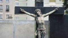 Jesus Christ Statue In The Cemetery, Rack Focus - stock footage