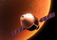 Spacecraft Orbiting Red Planet Stock Illustration