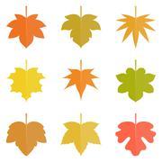 Leaf icon, Maple leave icon set, autumn theme flat vector illustration - stock illustration