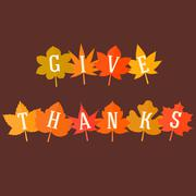 Give thanks typographic alphabet on maple leave poster Stock Illustration