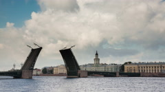 Palace Bridge in St. Petersburg is not divorced at night and during the day Stock Footage