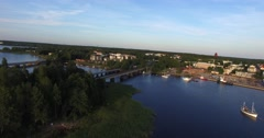 Aerial pan view on the city of Tammisaari, in Raasepori, Uusimaa, Finland Stock Footage