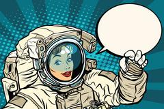 OK gesture female astronaut in a spacesuit Stock Illustration