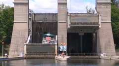 Historic worlds tallest lift lock in Peterborough Canada moving Stock Footage
