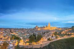 Toledo cityscape and Tagus River from hill, Spain - stock photo