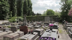 Tombstones And Graves In A Peaceful Cemetery Stock Footage
