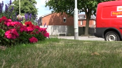 Traffic passing well tended suburban verge with colourful, colorful,  flowers Stock Footage