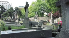 Tombs, Graves And Monuments In Cemetery Stock Footage