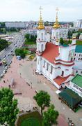 Top view of Lenin Street and Holy Resurrection Church, Vitebsk Stock Photos