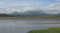 Snowdonia from estuary Stock Footage