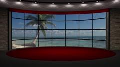 News TV Studio Set 202- Virtual Green Screen Background Loop - stock footage