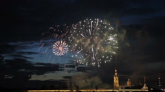 Day Military Navy, fireworks on the background of Peter and Paul Fortress Stock Footage