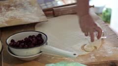 Make Pierogi with berries Stock Footage