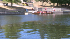 Canadian tourists in Canoe on Trent Severn river in Peterborough Stock Footage