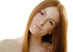 Beauty young redhead woman with red flying hair, funny ginger fresh spa girl Stock Photos