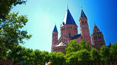 4K Dom Cathedral Mainz Rheinland-pfalz Rhineland-Palatinate Germany Europe Stock Footage