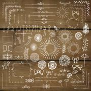 Vector Hand Sketched Rustic Design Elements, Dividers Stock Illustration