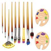 Brushes and Palette Stock Illustration
