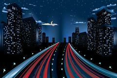 Night City Road Panorama Stock Illustration