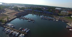 Aerial view on the restaurants at satamakatu in south harbour, Hanko, in Uusi Stock Footage