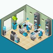 Office Interior Isometric Design Stock Illustration