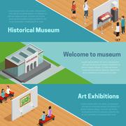 Museum Isometric Banners Set Stock Illustration