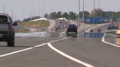 Melting highway pavement on hot summer day in heatwave Stock Footage