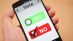 4K Voting NO on Smartphone Screen - stock footage
