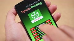 4K Betting on Sports On Smartphone Screen Stock Footage