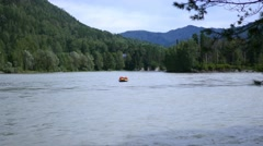 People rafting on a mountain river Stock Footage