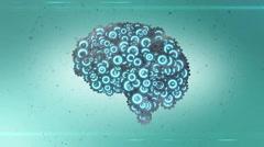 Modern blue steel mechanical cogwheel computer brain coming together Stock Footage