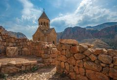 Ancient monastery Noravank in the mountains in Amaghu valley, Armenia Stock Photos