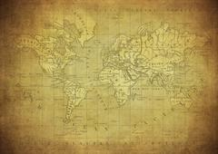 Vintage map of the world published in 1847 Stock Photos