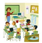 PRIMARY CLASS WITH PUPILS AND TEACHER Stock Illustration
