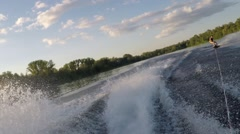 Man riding his wakeboard Stock Footage